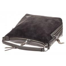 На фото 4 - Комбинированная сумка хобо из искусственной кожи и замши, цвет серый