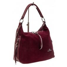На фото 1 - Комбинированная сумка хобо из искусственной кожи и замши, цвет бордо