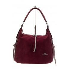 На фото 2 - Комбинированная сумка хобо из искусственной кожи и замши, цвет бордо