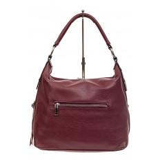 На фото 3 - Комбинированная сумка хобо из искусственной кожи и замши, цвет бордо