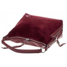 На фото 4 - Комбинированная сумка хобо из искусственной кожи и замши, цвет бордо