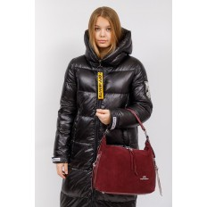 На фото 5 - Комбинированная сумка хобо из искусственной кожи и замши, цвет бордо