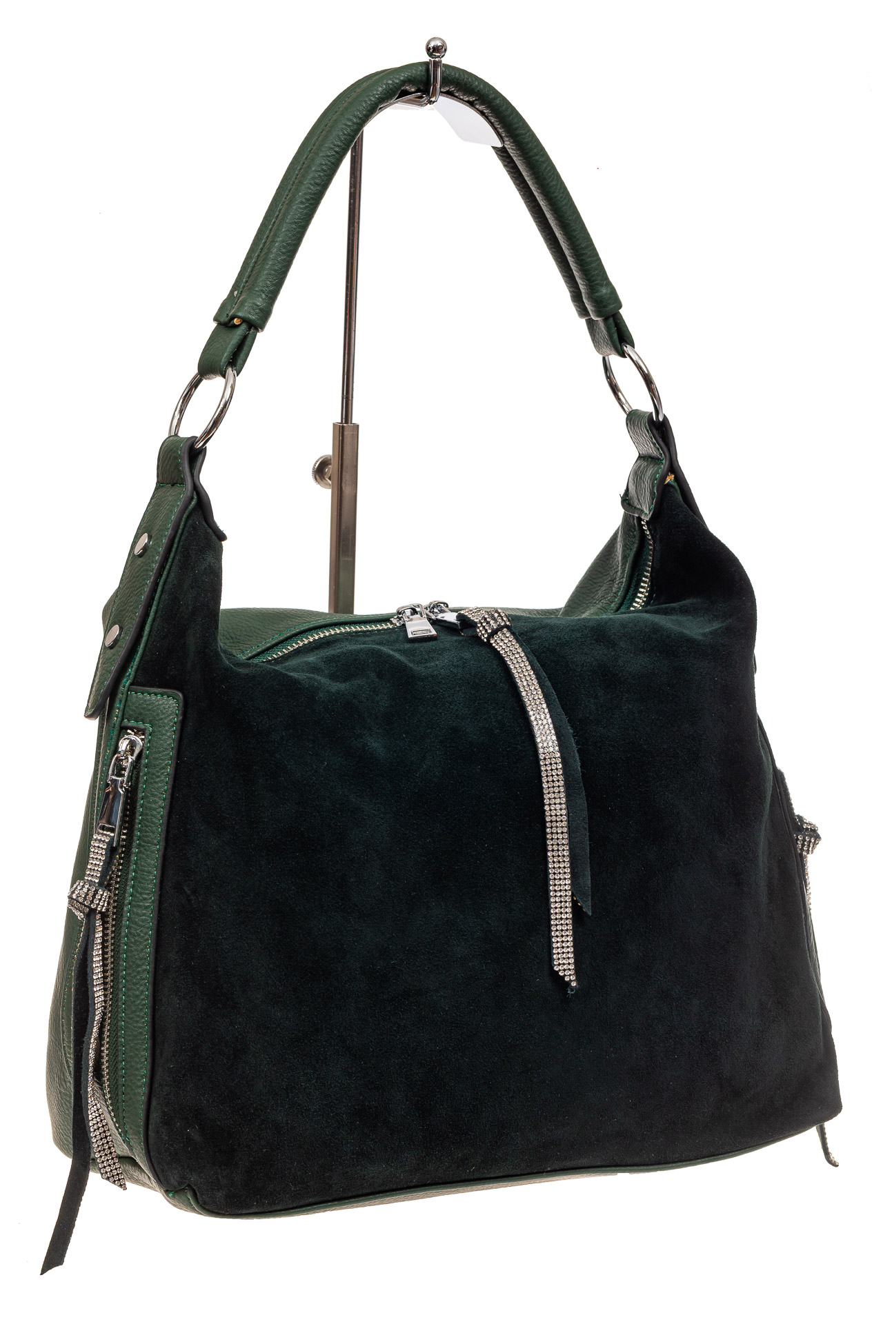 На фото 1 - Комбинированная сумка хобо из кожзама и замши, зеленая