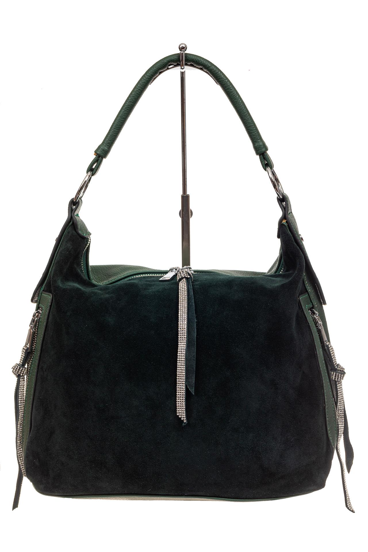 На фото 2 - Комбинированная сумка хобо из кожзама и замши, зеленая