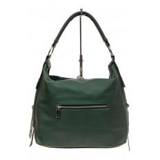 На фото 3 - Комбинированная сумка хобо из кожзама и замши, зеленая
