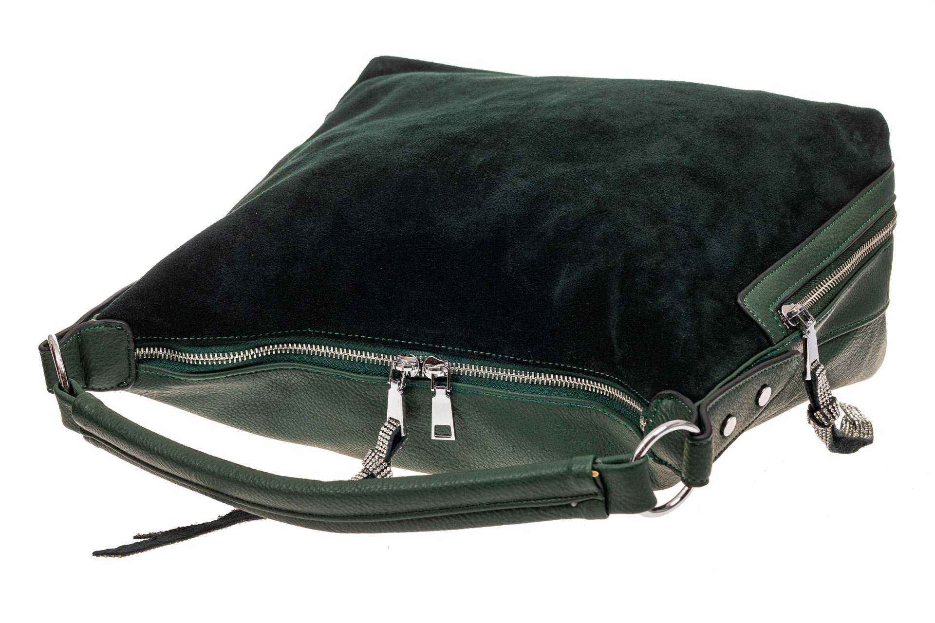 На фото 4 - Комбинированная сумка хобо из кожзама и замши, зеленая
