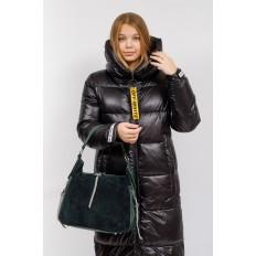 На фото 5 - Комбинированная сумка хобо из кожзама и замши, зеленая
