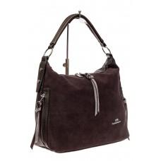 На фото 1 - Комбинированная сумка хобо из искусственной кожи и замши, цвет кофе