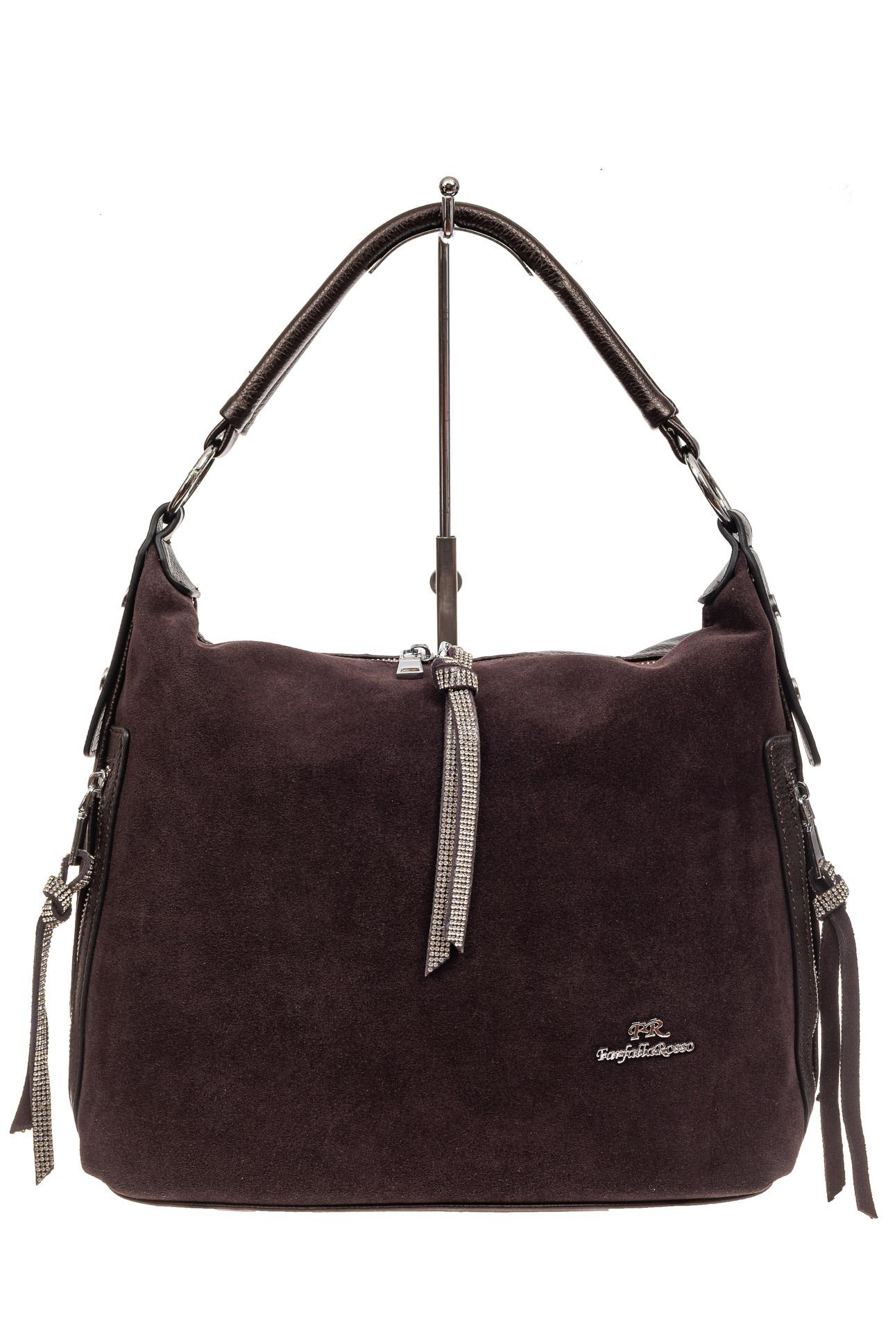 На фото 2 - Комбинированная сумка хобо из искусственной кожи и замши, цвет кофе