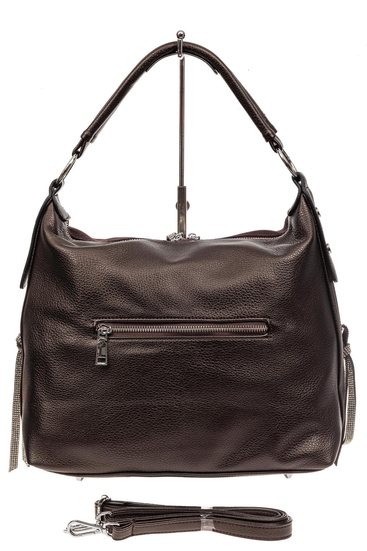 На фото 3 - Комбинированная сумка хобо из искусственной кожи и замши, цвет кофе