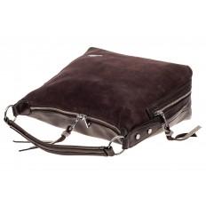 На фото 4 - Комбинированная сумка хобо из искусственной кожи и замши, цвет кофе