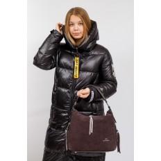 На фото 5 - Комбинированная сумка хобо из искусственной кожи и замши, цвет кофе