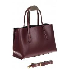 На фото 1 - Бордово-баклажанный handbag из натуральной кожи