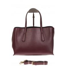 На фото 2 - Бордово-баклажанный handbag из натуральной кожи