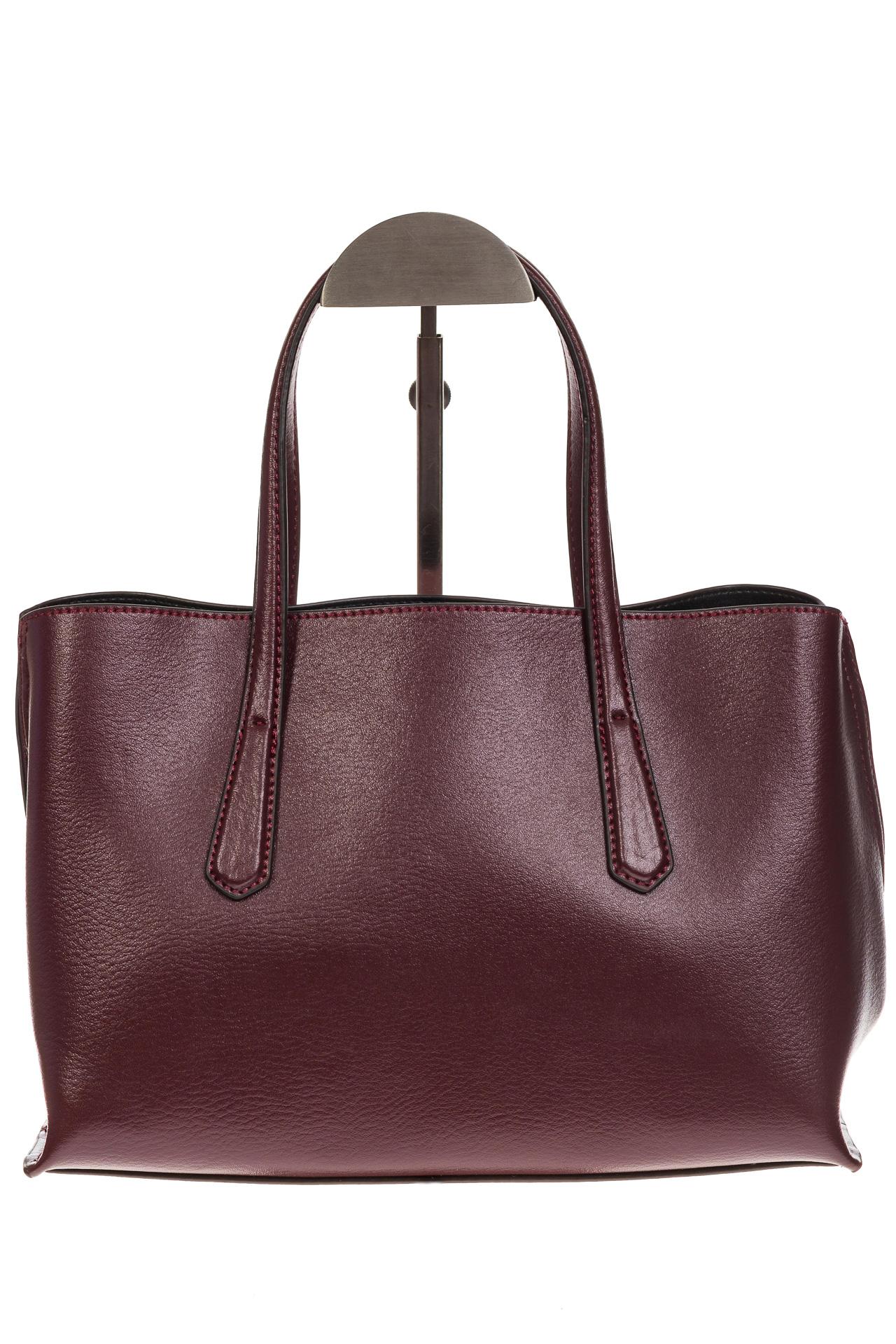 На фото 3 - Бордово-баклажанный handbag из натуральной кожи