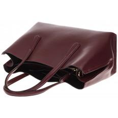 На фото 4 - Бордово-баклажанный handbag из натуральной кожи