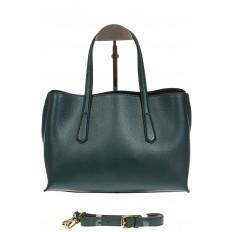 На фото 2 - Зеленый handbag из натуральной кожи
