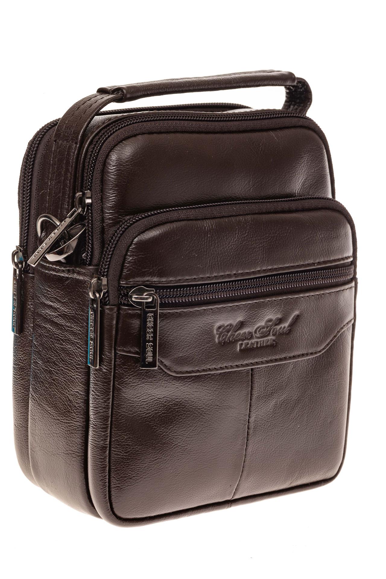 На фото 1 - Мужская сумка-барсетка из натуральной кожи, цвет коричневый