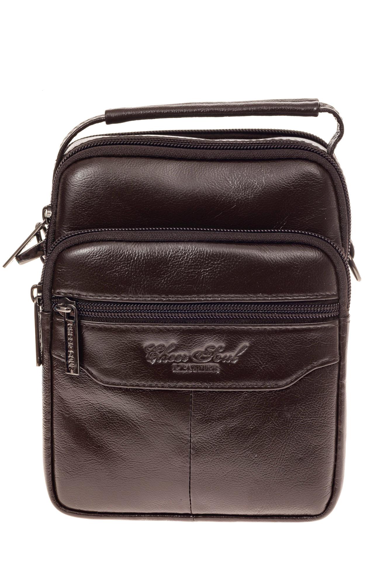 На фото 2 - Мужская сумка-барсетка из натуральной кожи, цвет коричневый