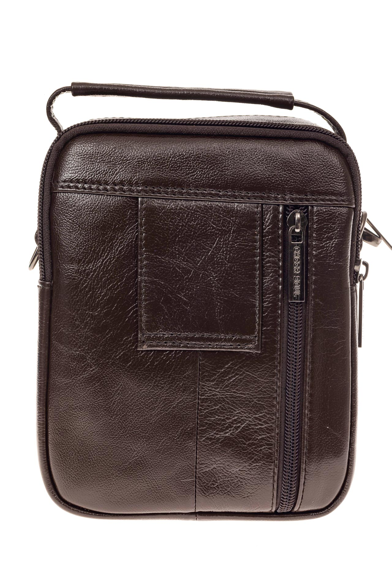 На фото 3 - Мужская сумка-барсетка из натуральной кожи, цвет коричневый