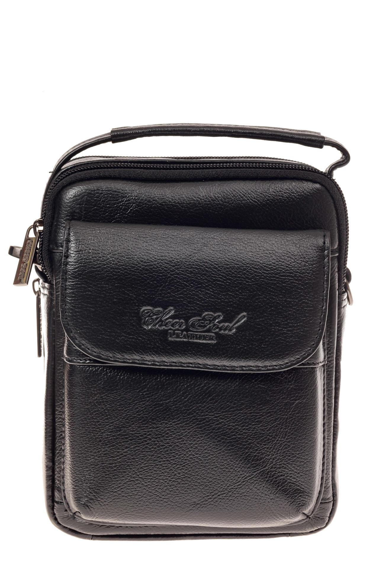 На фото 2 - Маленькая мужская сумка из натуральной кожи, цвет черный
