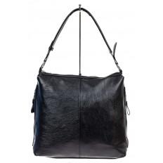 На фото 2 - Женская сумка хобо из искусственной кожи, цвет черный