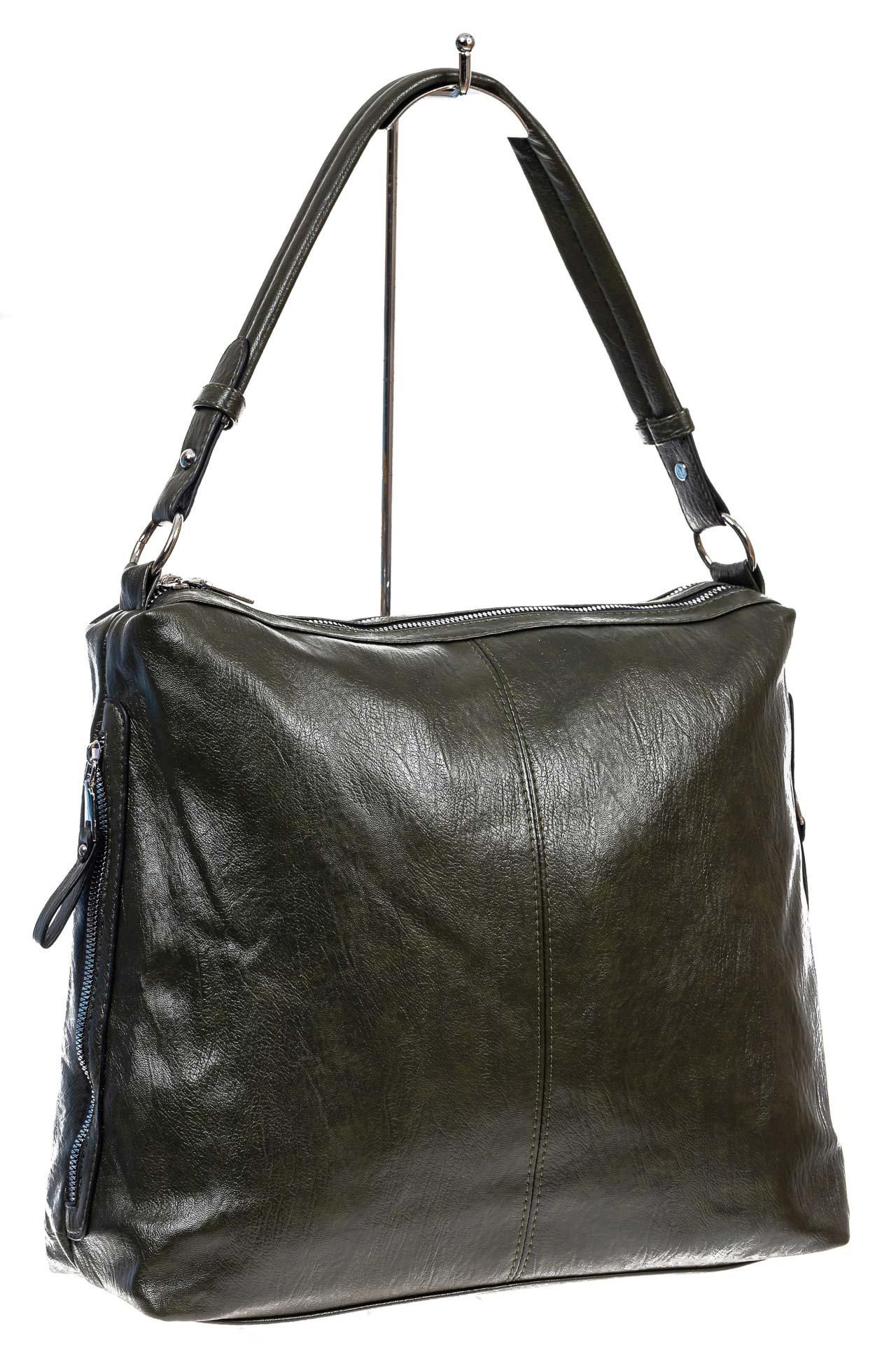 На фото 3 - Женская сумка хобо из искусственной кожи, цвет зеленый