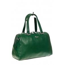 На фото 1 - Трапецевидная кожаная сумка, цвет зеленый