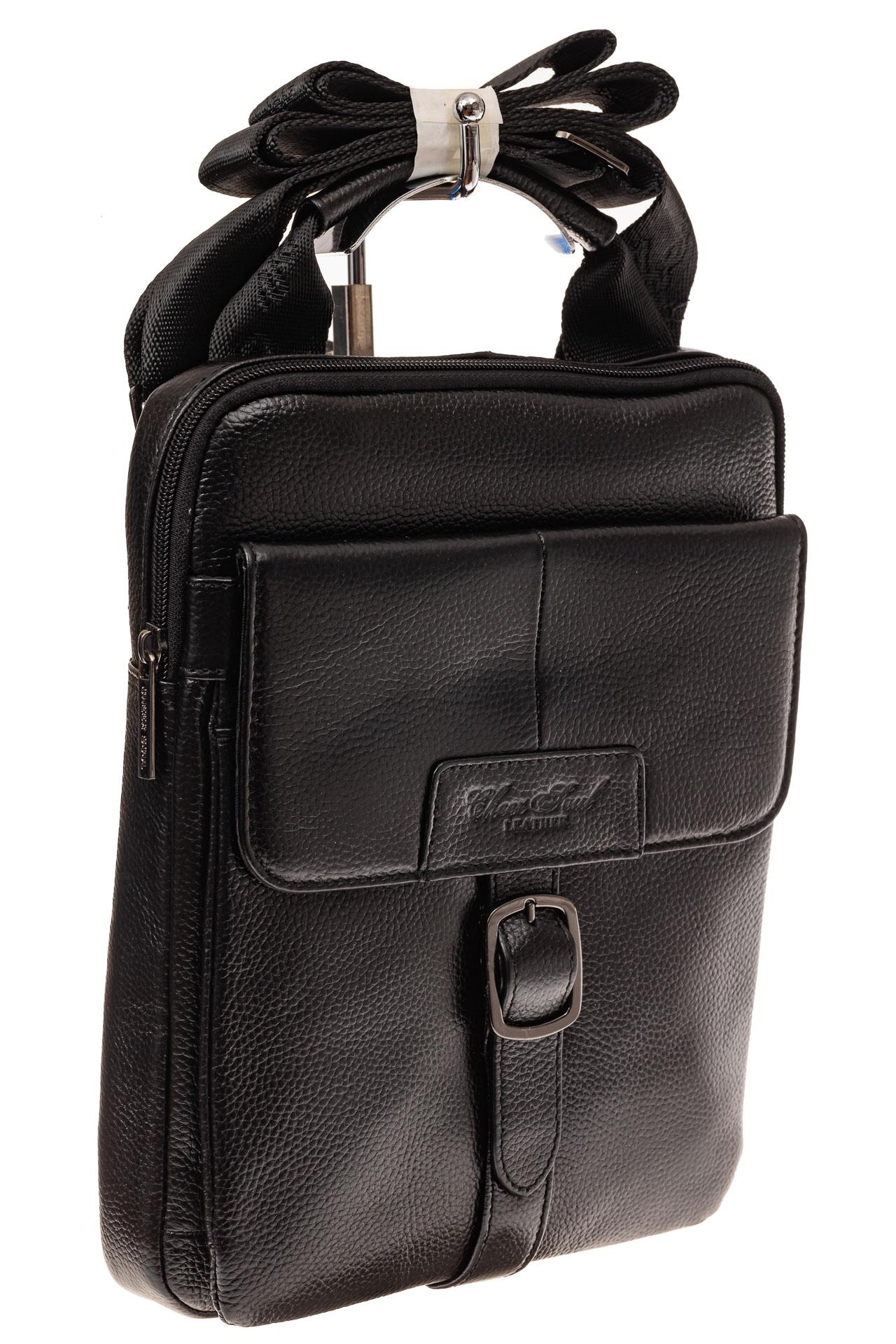 3f7bfedaf441 На фото 1 - Мужская сумка-почтальонка из натуральной кожи, цвет черный