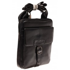 На фото 1 - Мужская сумка-почтальонка из натуральной кожи, цвет черный