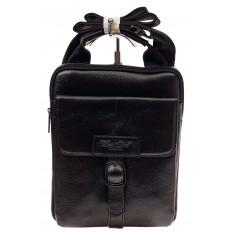 На фото 2 - Мужская сумка-почтальонка из натуральной кожи, цвет черный