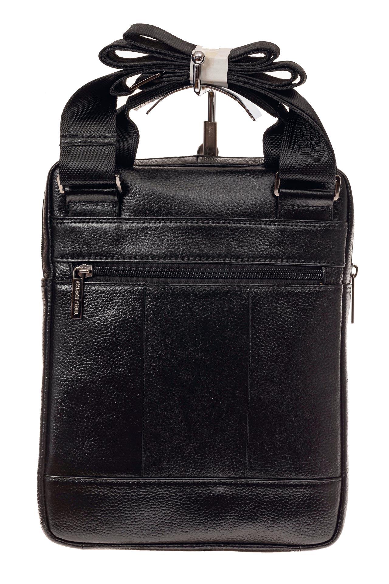 На фото 3 - Мужская сумка-почтальонка из натуральной кожи, цвет черный