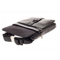 На фото 4 - Мужская сумка-почтальонка из натуральной кожи, цвет черный