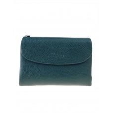 На фото 1 - Женский кошелёк из фактурной натуральной кожи, цвет зелёный