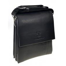 На фото 1 - Сумка планшет через плечо для мужчин из искусственной кожи, чёрный цвет