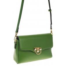 на фото Сумка-багет из натуральной кожи зеленого цвета 3103MK5