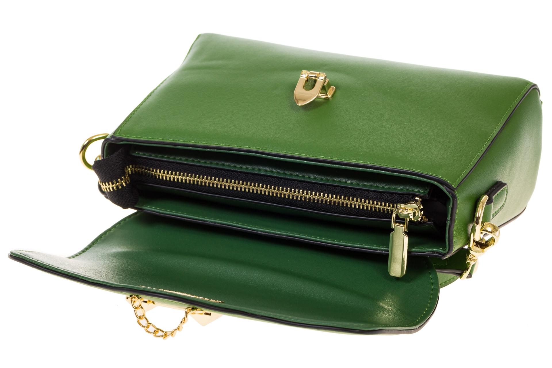 На фото 4 - Сумка-багет из натуральной кожи зеленого цвета 3103MK5