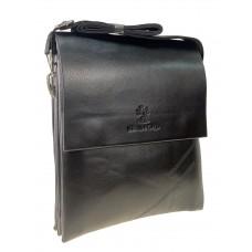 На фото 1 - Мужская сумка-планшет из гладкой экокожи, цвет чёрный