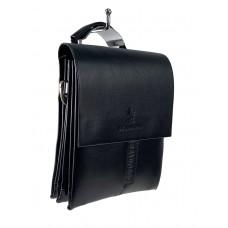 На фото 1 - Маленькая мужская сумка-мессенджер из искусственной кожи, цвет чёрный