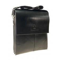 На фото 1 - Мужская сумка-планшет из искусственной кожи через плечо, цвет чёрный
