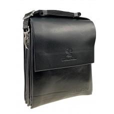 На фото 1 - Чёрная мужская сумка-планшет из экокожи