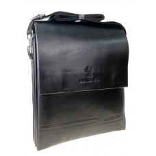 На фото 1 - Сумка-планшет для мужчин из гладкой искусственной кожи, чёрный цвет