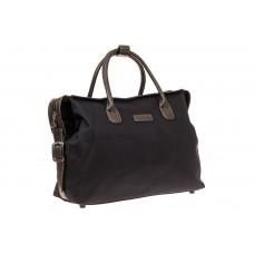 На фото 1 - Багажная сумка саквояж из плотной ткани, цвет черный