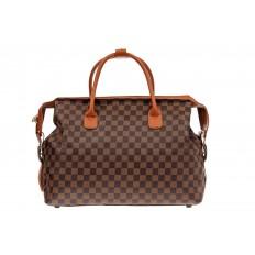 На фото 2 - Багажная сумка саквояж из искусственной кожи, цвет коричневый