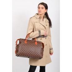 На фото 5 - Багажная сумка саквояж из искусственной кожи, цвет коричневый