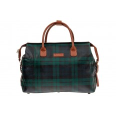 На фото 2 - Багажная сумка саквояж из искусственной кожи, цвет зеленый