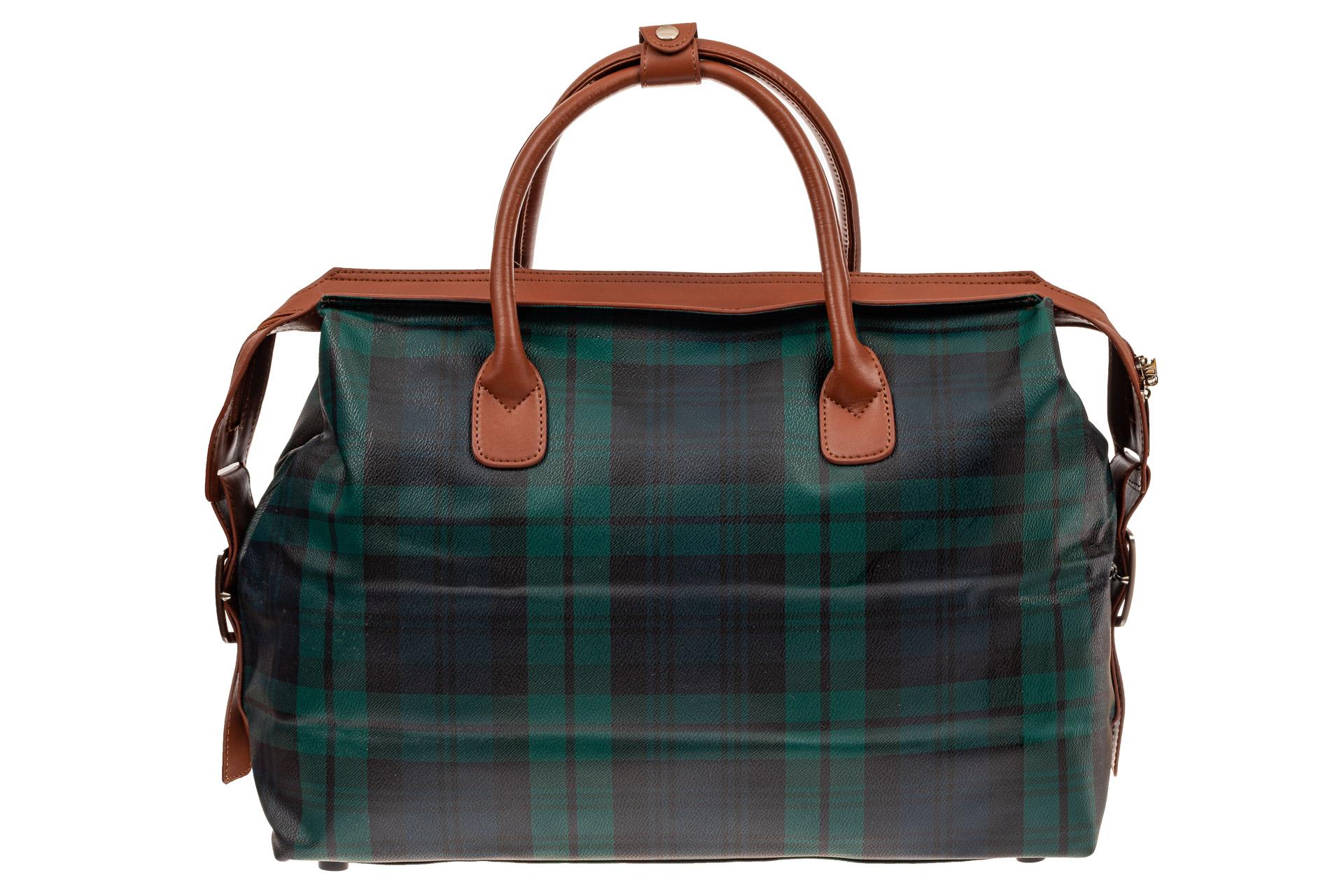На фото 3 - Багажная сумка саквояж из искусственной кожи, цвет зеленый