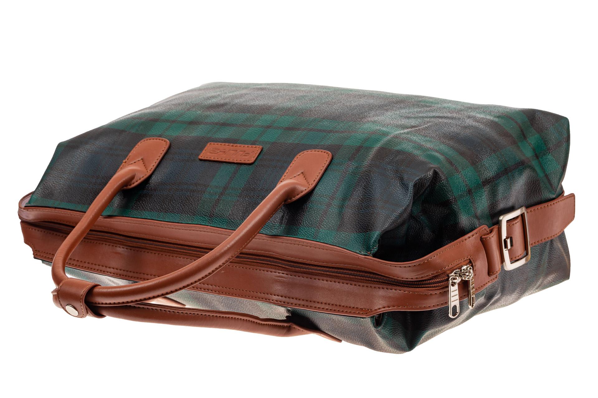 На фото 4 - Багажная сумка саквояж из искусственной кожи, цвет зеленый