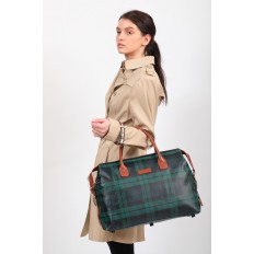 На фото 5 - Багажная сумка саквояж из искусственной кожи, цвет зеленый