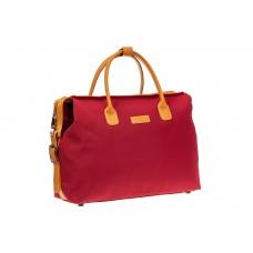На фото 1 - Багажная сумка саквояж из плотной ткани, цвет красный